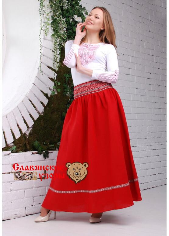 Юбка красная в пол Алая Заря